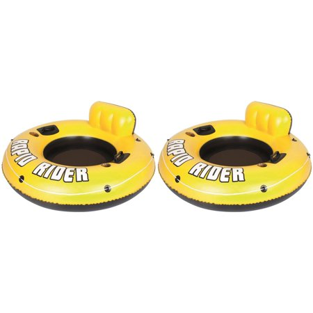 2-Pack Rapid Rider 53-Inch Raft Tubes With Handles/Cup Holders, Enjoy some time at the pool, lake, or river floating around on the Rapid Riders from Bestway By
