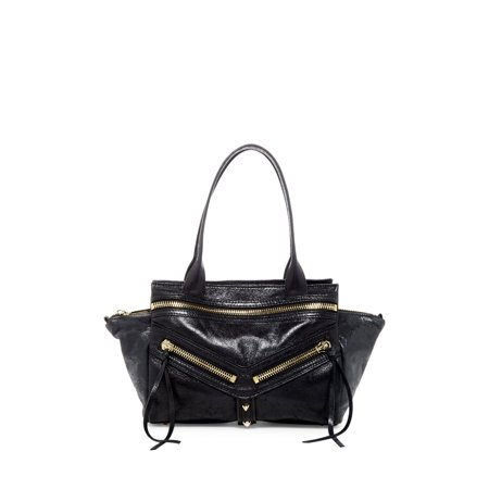 a945089415a Botkier - Botkier NEW Black Trigger Satchel Double Zip Leather Handbag Purse  - Walmart.com