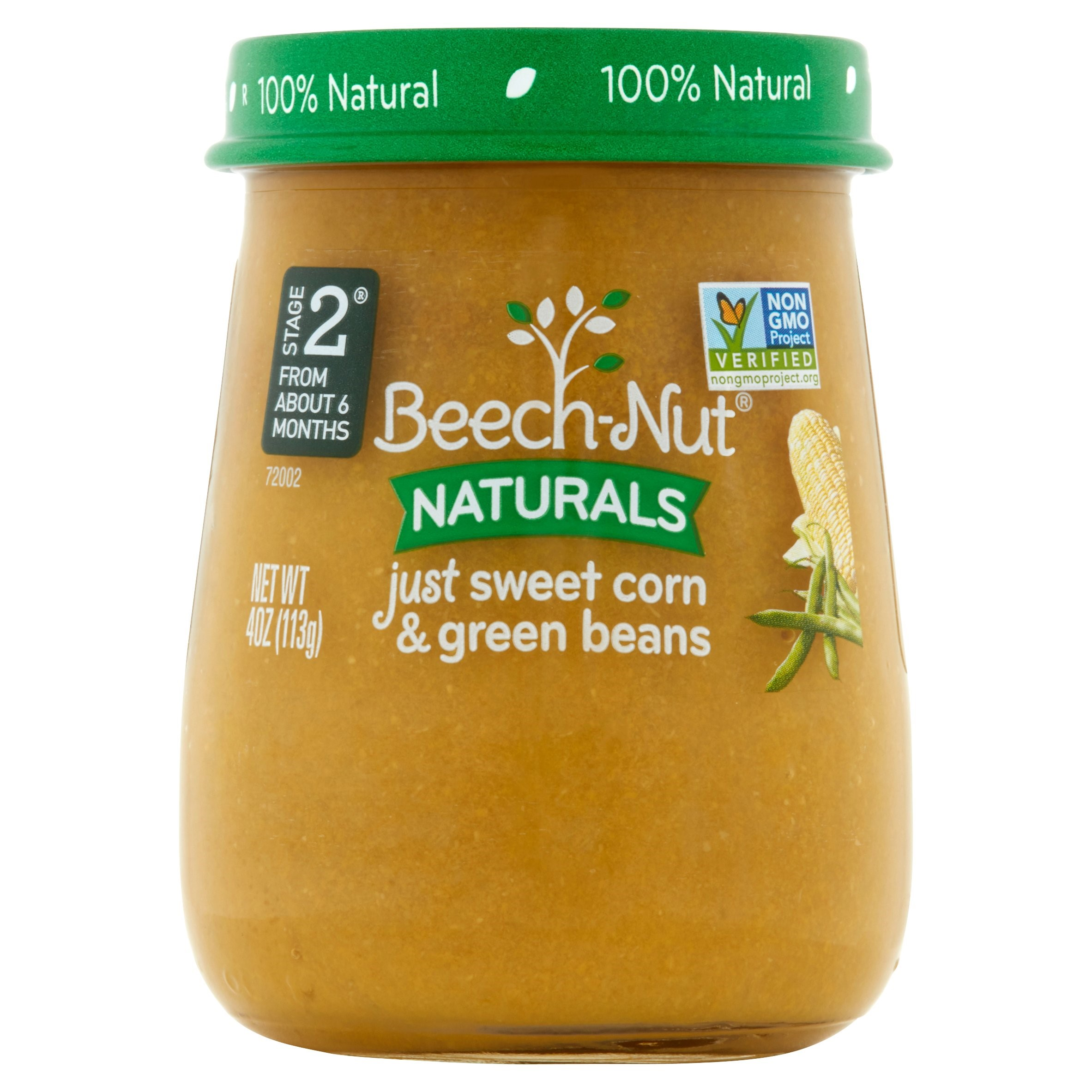 Beech-Nut Naturals Just Sweet Corn & Green Beans Stage 2 from About 6 Months, 4 oz, 10 pack