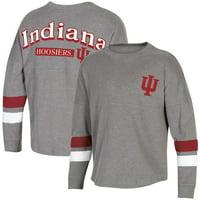 Women's Heathered Charcoal Indiana Hoosiers Fan Oversized Long Sleeve T-Shirt
