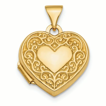 14K Yellow Gold Fancy Scroll Design Front and Back Heart Locket Charm Pendant