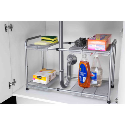 Home Basics Under Sink Steel Kitchen Organizer with 2 Adjustable Shelves