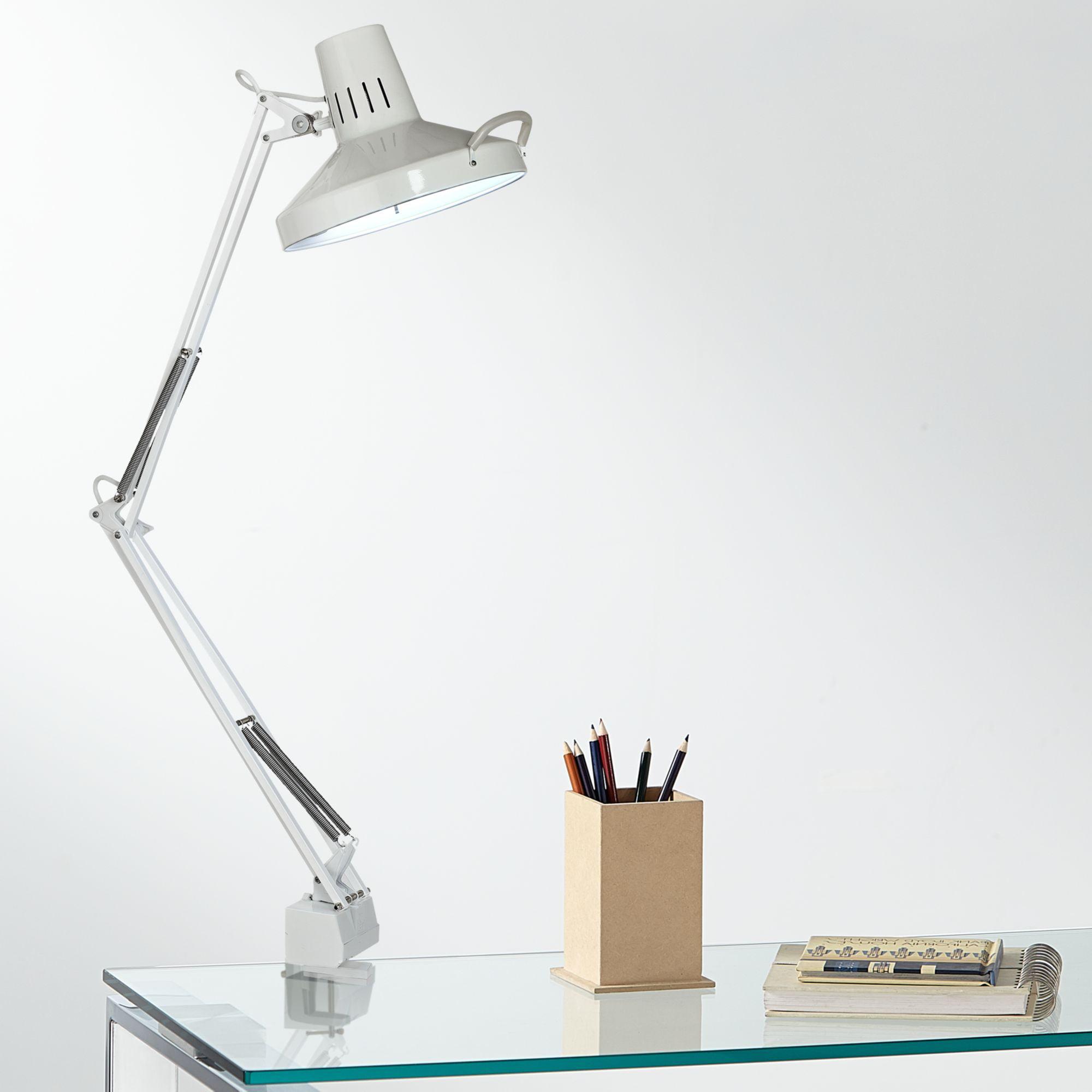 360 Lighting White Metal 2-Light Clamp-On Desk Lamp