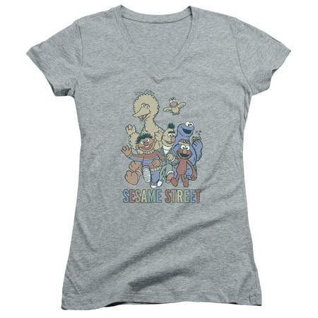 Cap Sleeve Tie - Sesame Street - Colorful Group - Juniors Cap Sleeve V-Neck Shirt - XX-Large