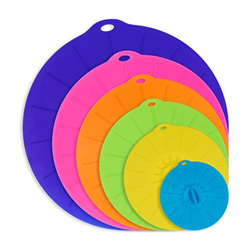 6 Pack Silicone Suction Lids Various Size Reusable Lily P...