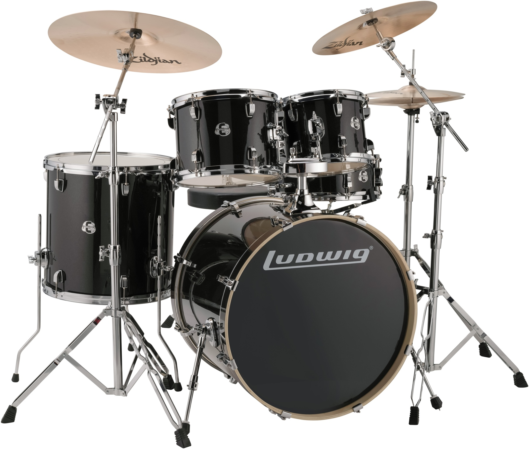 Ludwig LCEE22016 Element Evolution 5-piece Drum Set Black Sparkle Finish by Ludwig