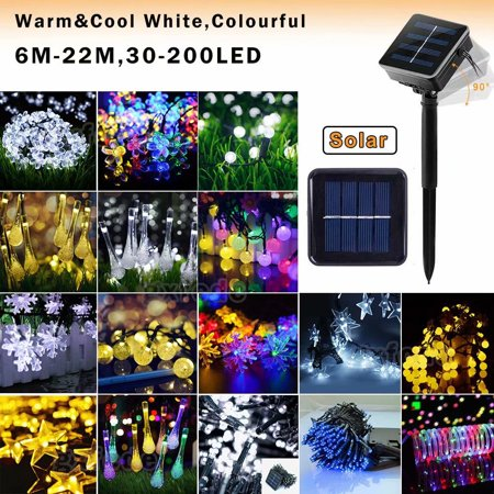 Solar LED Fairy Lights, Solar Outdoor String Lights,Indoor/Outdoor Globe String Lights for Patios, Parties, Weddings, Backyards, Porches, Gazebos, Pergolas & More[8 Modes]((Warm/White/RGB) ()