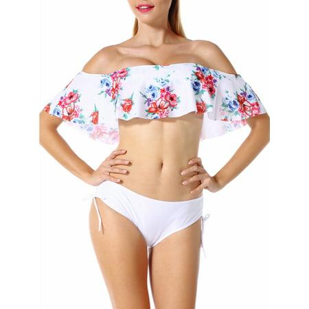 0f43dde085 SAYFUT - SAYFUT Women Off-Shoulder Ruffle Bikini Set Two-piece Padded Swimsuit  Swimwear Bathing Suit Black/White S-XL - Walmart.com