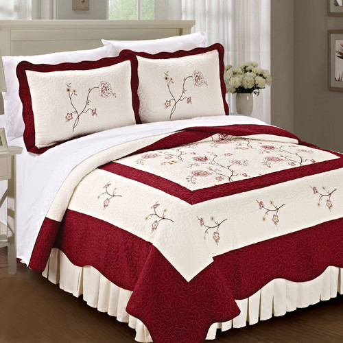 Serenta Spring Flowers Quilted 3 Piece Coverlet Set