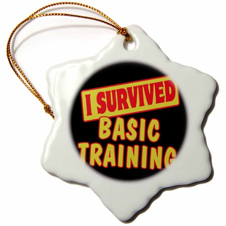 3dRose I Survived Basic Training Survial Pride And Humor Design - Snowflake Ornament, 3-inch