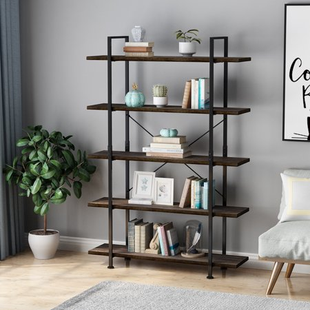 5 Tier Open Back Storage Bookshelf, Industrial 69.3 inches H Bookcase, Decor Display Shelf, Living Room, Home Office, Natural Solid Reclaimed Wood, Sturdy Rustic Metal Frame 48 Open Shelf