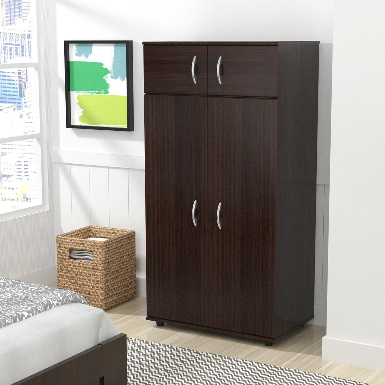 Inval Four Door Wardrobe/Armoire, Espresso-Wengue Finish ...