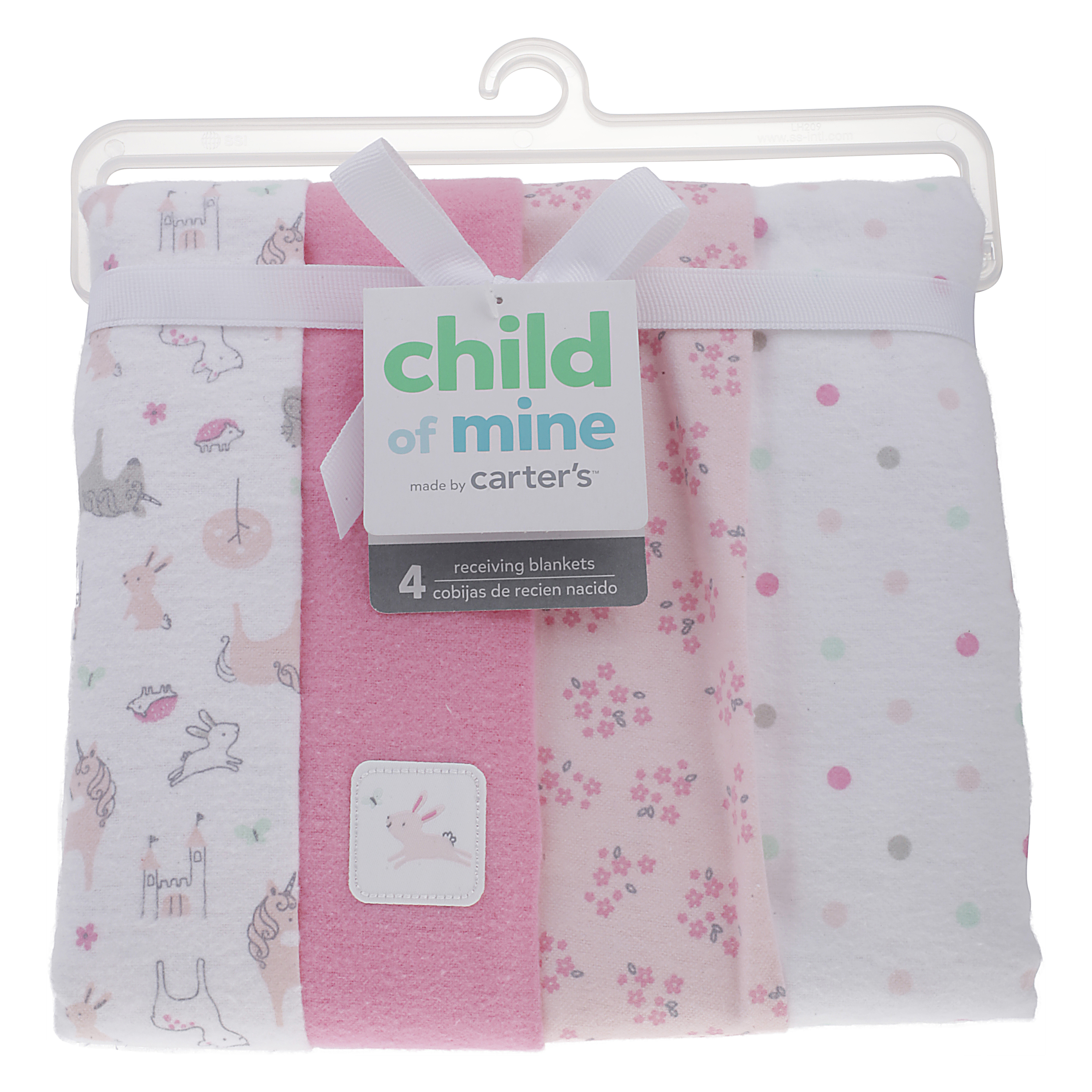 Child of Mine Girl Receiving Blankets 4 pack Pink