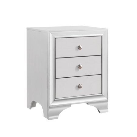 Belle White Wood Transitional 3 Drawer Storage Nightstand Bedside Table With USB Port