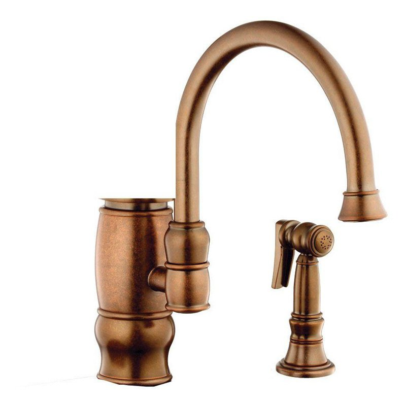 Belle Foret F83JZ600BRR Traditional Single Handle Side Sprayer Kitchen Faucet in Tuscan Bronze