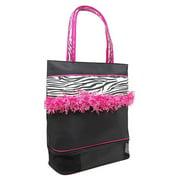 Black Zebra Fringe Medium Little Girl Dance Cheer Tote Bag