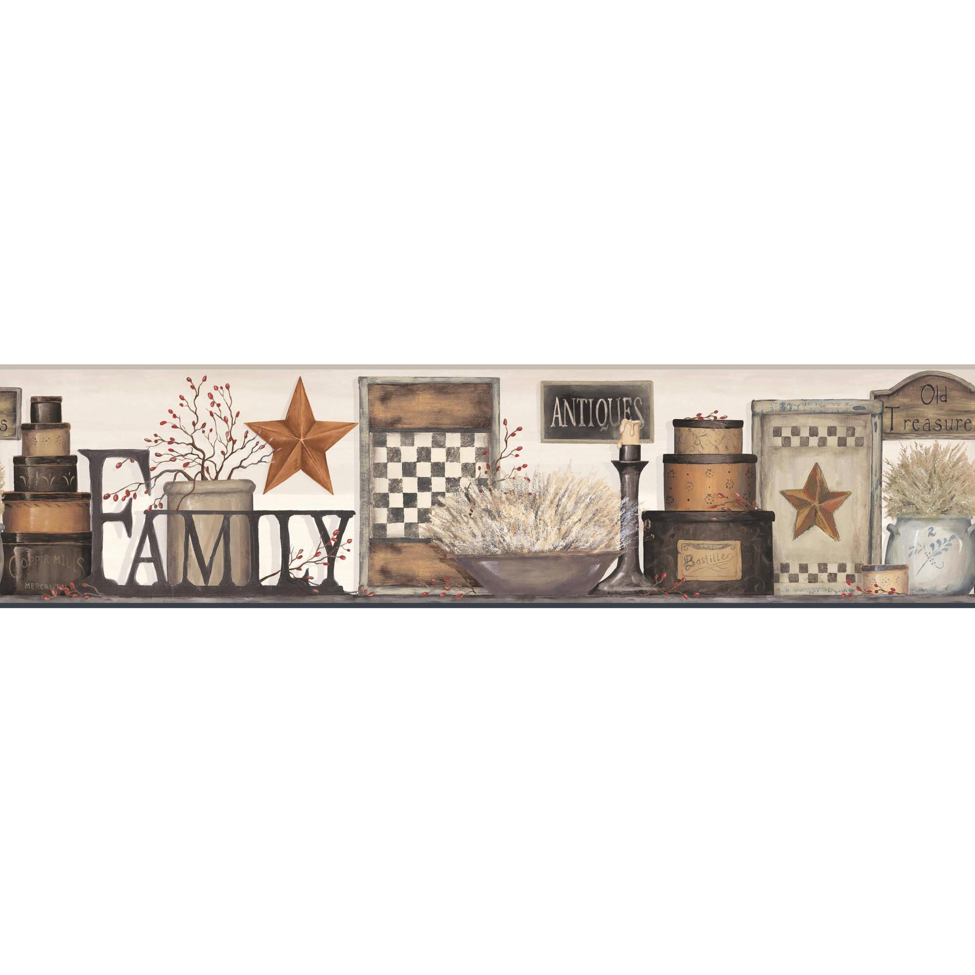 Country Keepsakes Family Shelf Border Wallpaper