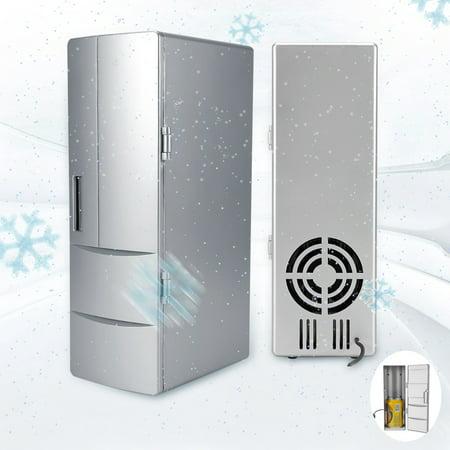 Awaymmer Compact Mini USB Fridge Freezer Cans Drink Beer Cooler Warmer Travel Car Office Use, Mini Fridge, Drink Cooler Warmer (Mini Fridge Usb)