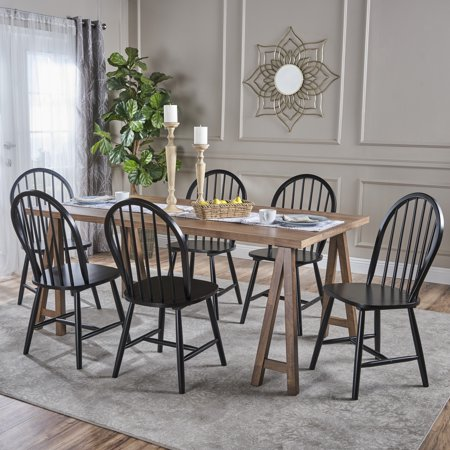 - Angela Farmhouse Cottage 7 Piece Faux Wood Dining Set with Rubberwood Chairs, Natural Walnut and Black