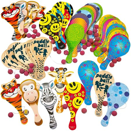 9 Inches Paddle Ball Assortment 50 Pieces – 6 Pack– Party Favors – Party Prizes for Children Games or Adults – Colorful (Assortments may vary) (Cheap Prizes For Adults)