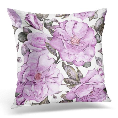 Pink Patterned - ARHOME Gray Abstract with Purple Flowers and Leaves on White Watercolor Floral Pattern Rose in Pastel Color Pink Pillow Case Pillow Cover 20x20 inch