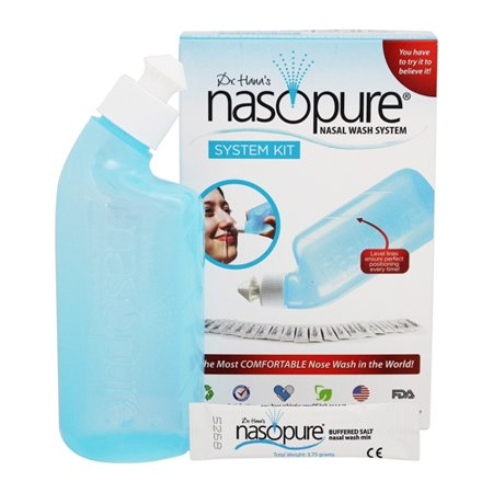 Nasopure System Kit Nasal Wash Bottle And Buffered Salt Packets, 8 oz Nasopure Bottle, Salt Packets