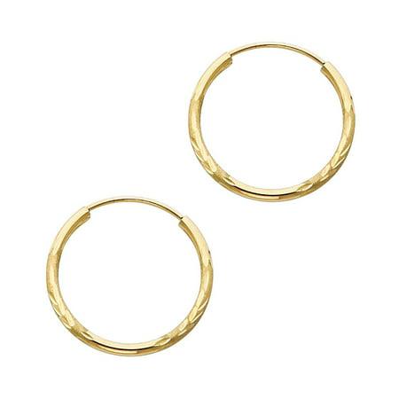 14k Solid Italian Yellow Gold 1.5 mm Diamond Cut 20 mm Diameter Endless Hoop Earrings