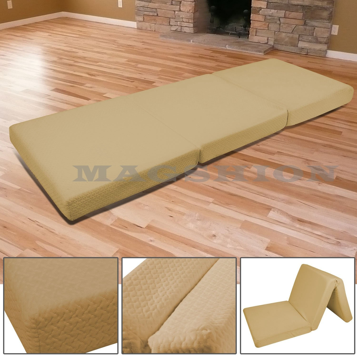 Magshion Memory Foam Mattresses Folding Bed Single 27'', Coffee