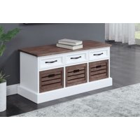 Olinda Storage Bench, Brown and White