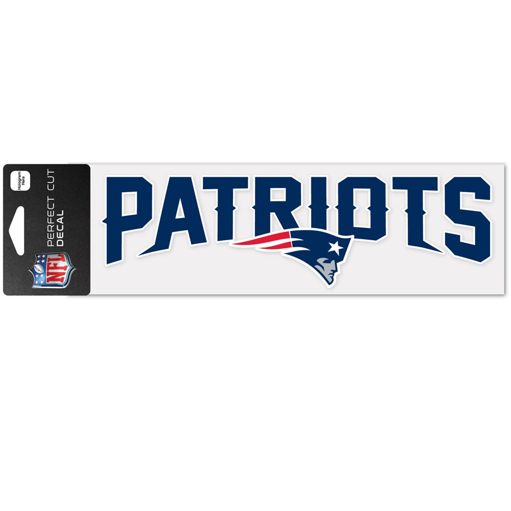 New England Patriots Official NFL 3 inch  x 10 inch  Perfect Cut Car Decal by Wincraft