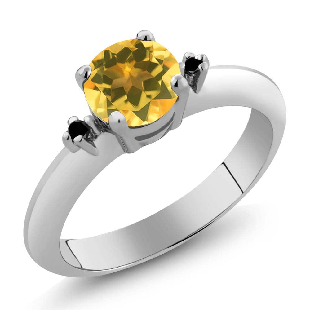 0.72 Ct  Yellow Citrine Black Diamond Sterling Silver 3-Stone Ring