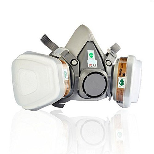 Click here to buy Double Gas Mask 3M 6200 N95 Protection Filter Industrial Gas Chemical Anti-Dust Safety Respirator Mask by SanSiDo0586.