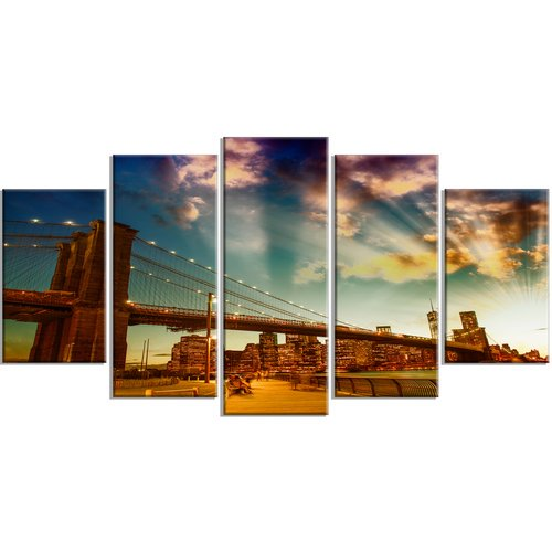Design Art Relaxing In Brooklyn Bridge Park 5 Piece Photographic Print On Wrapped Canvas Set Walmart Com Walmart Com