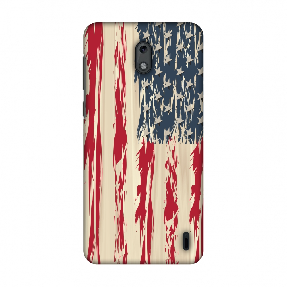 Nokia 2 Case - USA flag- Paint splashes, Hard Plastic Back Cover, Slim Profile Cute Printed Designer Snap on Case with Screen Cleaning Kit