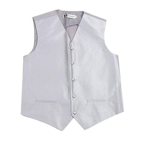Silver Formal Vest (Men's Solid Formal Vest Silver for Tuxedo and Suit)