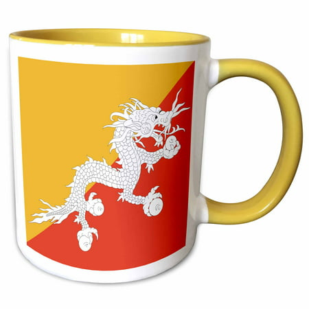 Gold Tone Frosted Metal (3dRose Flag of Bhutan - Druk Bhutanese Thunder Dragon on orange and gold yellow - Asia - Asian world - Two Tone Yellow Mug, 15-ounce )