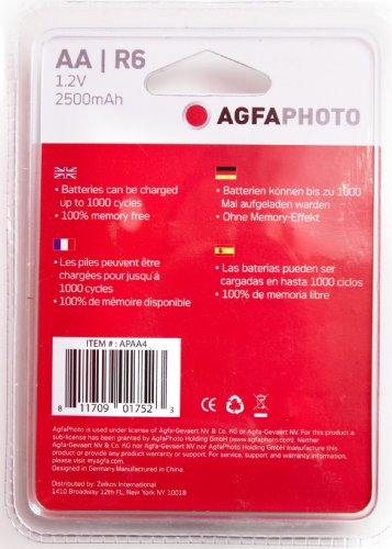 AGFA NiMH Rechargeable 2500mAh Batteries (4 Pack) APAA4 by AGFA