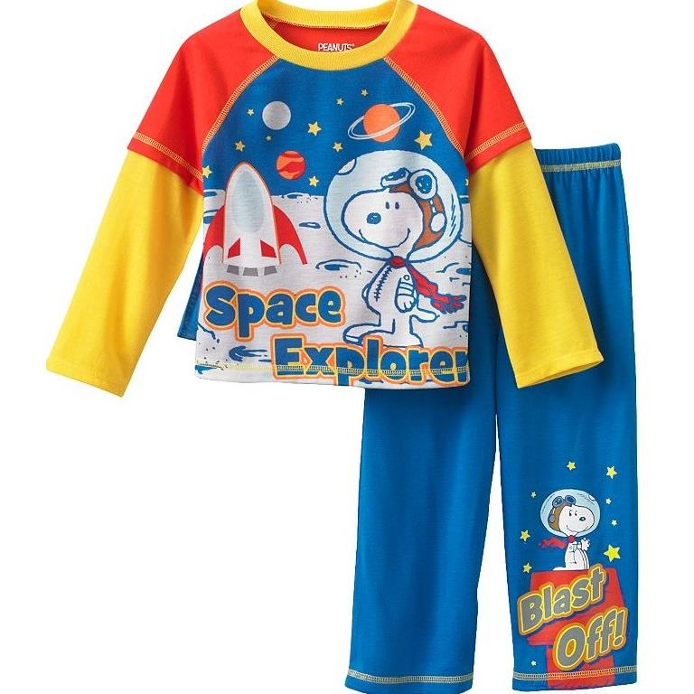 "Peanuts Snoopy ""Space Explorer"" Toddler Layered Boys Pajama with Cape, Sizes 2T-4T"