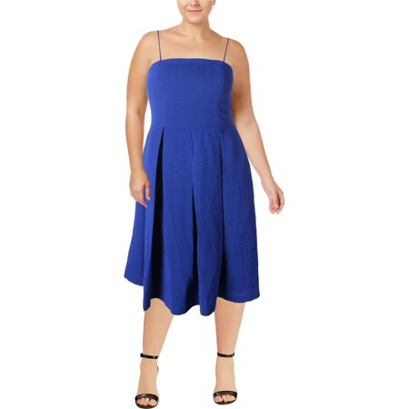 City Chic Womens Plus Textured Treat Fit & Flare Party Midi Dress - Spandex Suit Party City