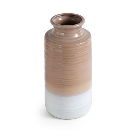 Elements 12 Inch Ceramic Tan Rippled Shoulder Vase