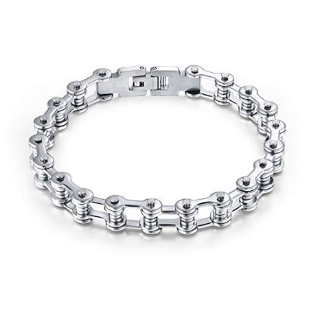 Ginger Lyne Collection Stainless Steel Bike Chain Bracelet - Rubber Bicycle Chain Bracelet