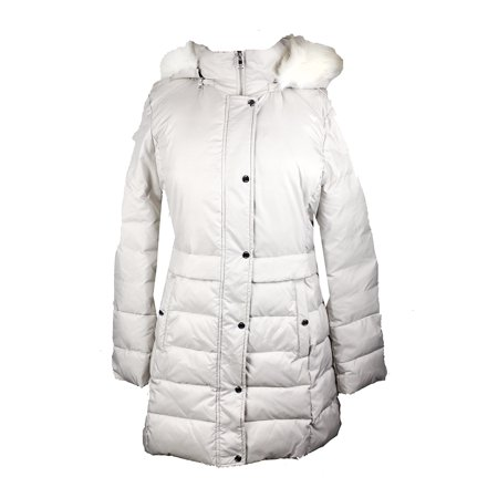 Bar Iii Neutral Faux-Fur-Trimmed Hooded Quilted Coat (Bar Iii Faux Leather Quilted Bomber Jacket)