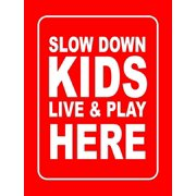 "Accelerated Intelligence Inc. Slow Down Kids Live & Play Here Yard Sign | Double-Sided Red on White Safety Slow Down Signs for Sidewalks, Yards and Driveways 18"" x 24"" (2 Pack)"