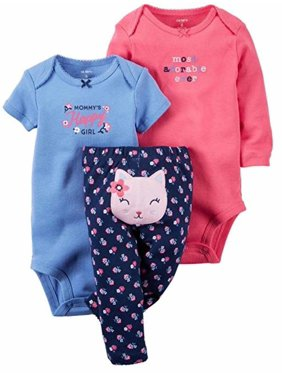 Carters Baby Girl's 3 Piece Set-2 Bodysuits, 1 Pant (Elephant/Sweetest Gift, 12M)