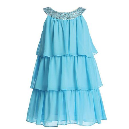 Sweet Kids Girls Turquoise Sequined Neck Tiered Junior Bridesmaid Dress 7 16