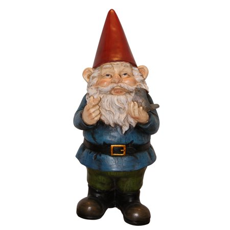 12 Inch Gnome With Bird Statuary