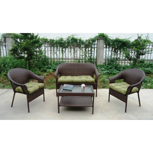 Winport Industries Garden Trellis 4 Piece Sofa Set with Cushions