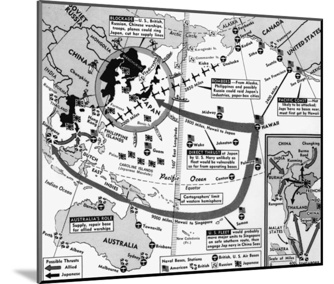 Map Of Blockade On Japan Wood Mounted Print Wall Art