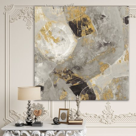 DESIGN ART Designart 'Glam Gold Desert Neutral' Modern & Contemporary Premium Canvas Wall Art - Grey (Contemporary Canvas Art)