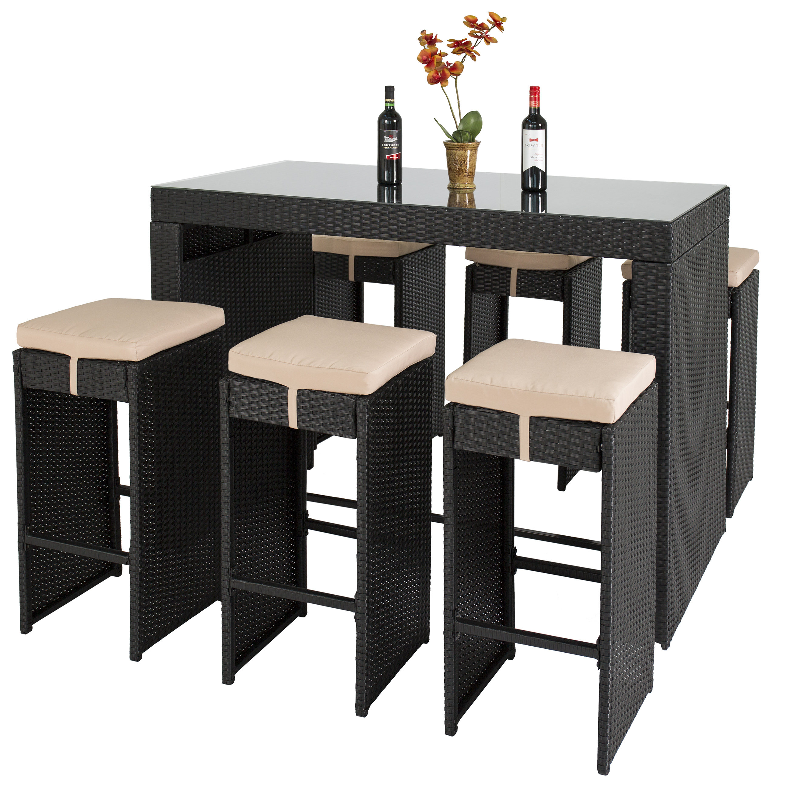 Best Choice Products 7pc Rattan Wicker Bar Dining Table Patio Furniture Set